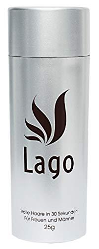 LAGO Streuhaar - Schütthaar - Haarpulver - Hair Fiber - ERSTKLASSIGE Haarverdichtung - maximales Volumen - Volles Haar in 30 Sekunden ! - für Frauen und Männer - 100% Natürlich - (Schwarz)