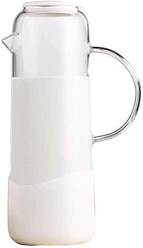 Tetera Tetera Taza de Vidrio Tetera Conjunto de Agua frío hervidor de Agua Zumo de hogar Resistente al Calor Capacidad Seca Taza Seca Taza de Olla Taza Taza Taza Taza (Size : Cream White)