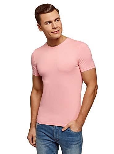 oodji Ultra Hombre Camiseta Básica Entallada, Rosa, ES 46-48 / S