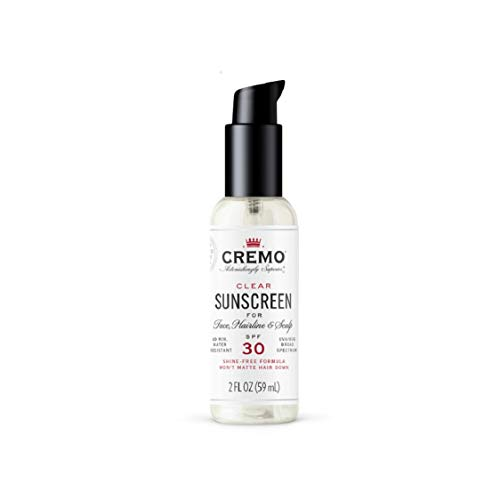 Cremo Clear Sunscreen for Face, Hairline & Scalp with SPF 30, 2 Fl Oz