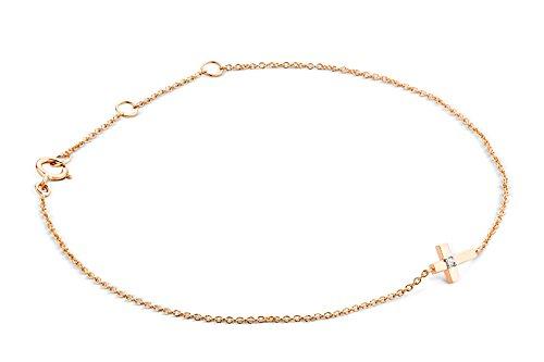 Miore Armband - Armreif Damen Kette Rosé 9 Karat/375 Gold mit Kreuz Diamant Brilliant 19 cm