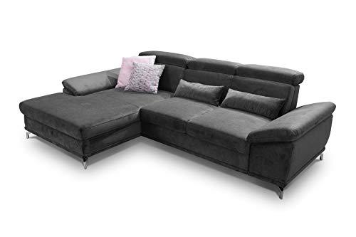 CAVADORE Ecksofa Capri / Sofaecke mit XL-Longchair links / Inkl. Sitztiefenverstellung & Kopfteilfunktion / 295 x 85-103 x 181 / Mikrofaser: Grau