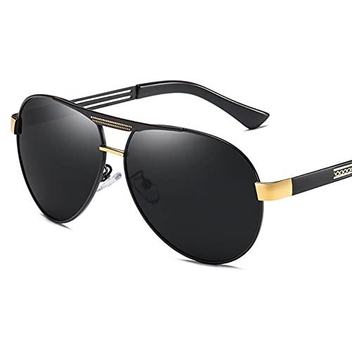 DovSnnx Unisex Polarizadas Gafas De Sol 100% Protección UV400 Sunglasses para Hombre Y Mujer Gafas De Aviador Gafas De Ciclismo Ultraligero Toad Espejo Negro Marco Dorado Lente Gris