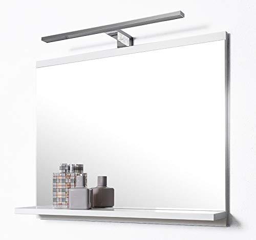 DOMTECH - Specchio a parete da bagno con mensola con illuminazione Led bianco