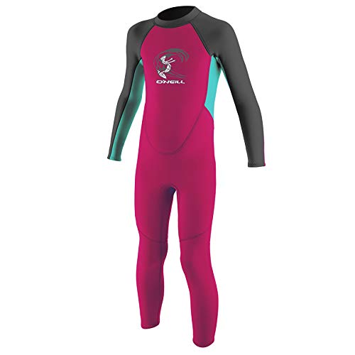 O'Neill Wetsuits Baby Toddler Reactor II 2mm Back Zip Full Wetsuit Neoprenanzug, Berry/Light Aqua/Graphite, 1
