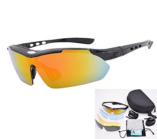 AILINSHA 12 Piezas Conjunto de Gafas de Sol Gafas Eyewear polarizado, UV400 Protección Ciclismo Gafas de Deportes Montando Bicicleta de montaña A Prueba de Viento Espejo Pesc Black