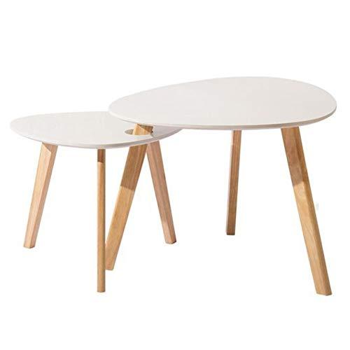 YNN Table Ensemble de 2 Tables gigognes en Bois de Bambou Table de Chevet Table d'appoint Table d'appoint Table d'appoint (Couleur : Blanc)