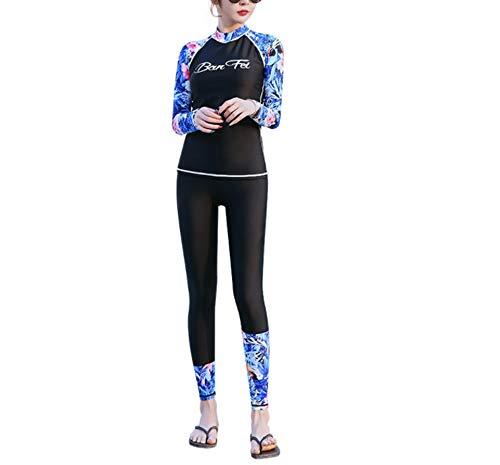 ANRIRA Frauen Thermal Neoprenanzug, Mädchen UV-Schutz mit Langen Ärmeln Tauchhaut Ganzkörper-Neoprenanzug zum Schwimmen Tauchen Schnorcheln Surfen,XXL