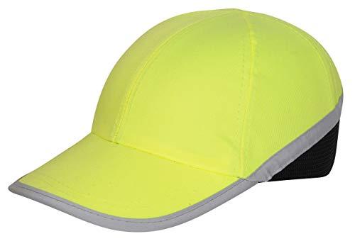 Silent Gorra Seguridad, Hi Viz Bump Cap, Estilo Béisbol, Hi Vis Cabeza Protección, Reflectante, Verde, Certificado EN 812 (5) ✅
