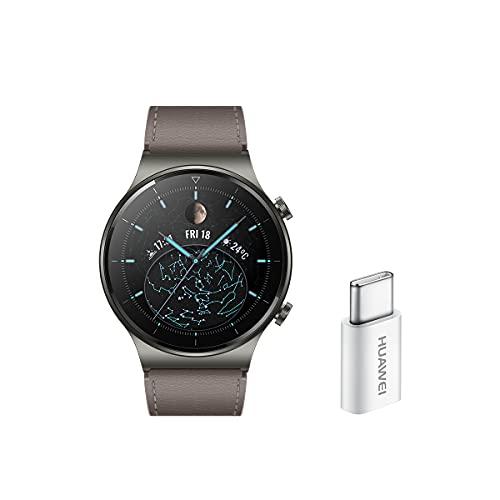 HUAWEI Watch GT 2 Pro - Smartwatchcon Pantalla AMOLED de 1.39' y Adaptador USB-C, hasta Dos semanas de batería, Grey, 46 mm