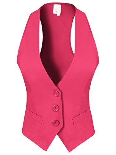 Design by Olivia Women's Dressy Casual Versatile Racerback Vest Tuxedo Suit Waistcoat Fuchsia L