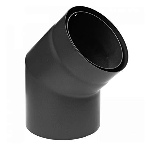 raik SH30004688-sw Rauchrohrbogen/Ofenrohr Izoker doppelwandig mit Isolierung, Durchmesser 150 mm, 45°, Schwarz