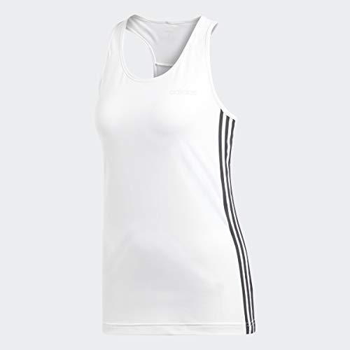 adidas Design 2 Move 3-Stripes Tank Top Camisa, Blanco/Negro, M para Mujer