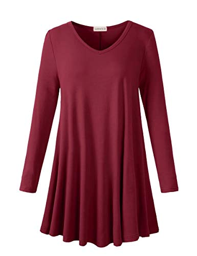 LARACE Long Sleeve Tunics Tops Plus Size for Women Swing V Neck Shirt Loose Fit Flowy Clothing for Leggings, Wine Red XX-Large