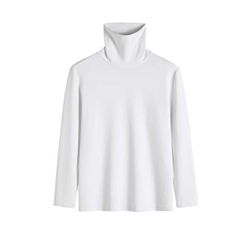 Cuello Alto Camisetas de Manga Larga Hombre Algodón Negro Marca Moda Caual...