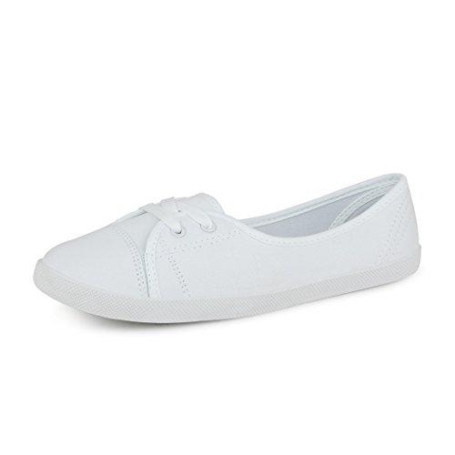 best-boots Damen Ballerinas Sneaker Schnürer Slipper Halbschuhe sportlich Weiß 1272 Größe 39