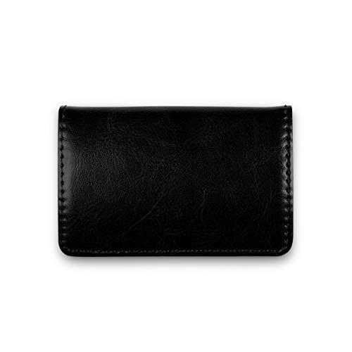 Visitenkarten-Etui Premium Business Kartenetui mit Magnetverschluss aus PU Leder für Damen und Herren (Vintage Schwarz)