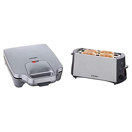 Cloer 6269 Sandwichmaker XXL / 1800 W / für 4 Sandwiches / American Toast / XXL-Füllung / optische Fertigmeldung & 3710 Langschlitztoaster für 4 Toastscheiben / 1380 W / integrierter Brötchenaufsatz