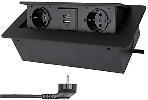 Base empotrable, tira de zócalo retráctil integrada (2 puertos USB y 2 zócalos) para la encimera, aluminio inyectado, con cable de alimentación de 1,8 m.