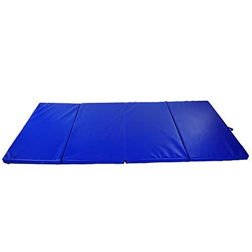 HOMCOM Tapis de Sol Gymnastique Fitness Pliable Portable Rembourrage Mousse 5 cm Grand Confort revêtement synthétique dim. 2,93L m x 1,15l m Bleu
