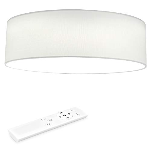 Navaris LED Deckenleuchte rund mit Fernbedienung - dimmbar - 22 Watt 970 Lumen - Stoff Deckenlampe Stoffbezug Weiß - verstellbare Farbtemperatur