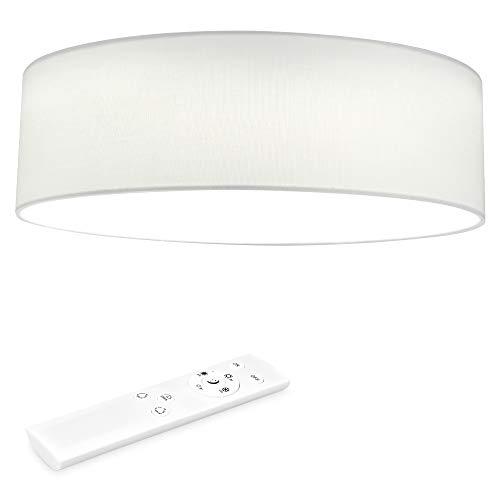 Navaris Lámpara LED de Techo Moderna - Iluminación de Interior con Pantalla para salón Dormitorio - con Mando a Distancia y Temporizador - Blanco