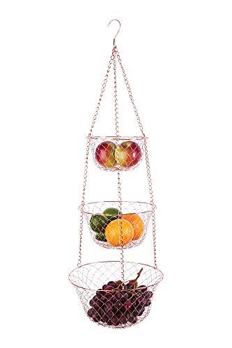 Fox Run 3-Tier Copper Kitchen Hanging Fruit Baskets, 32 Inches
