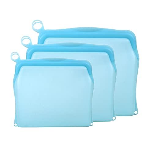 Amuzocity Sándwich de Cítricos Reutilizable de Bolsa de Almacenamiento Reutilizable de Silicona de Platino 3X - Azul