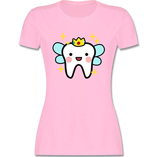 Karneval & Fasching - Zahnfee mit Krone - XL - Rosa - Zahn Tshirt Damen - L191 - Tailliertes Tshirt für Damen und Frauen T-Shirt