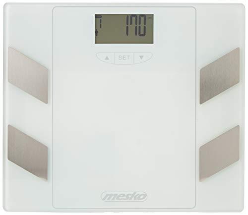 Mesko MS8148 Grasa Corporal, Báscula de Baño Digital, 150 Kg, Masa Muscular, Gran Pantalla LCD, Cristal Templado, Blanco, Talla única