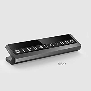 Ocamo Alloy Metal Car Parking Phone Number Plate Card Universal Hidden Auto Mobile Temporary Stop Sign gray