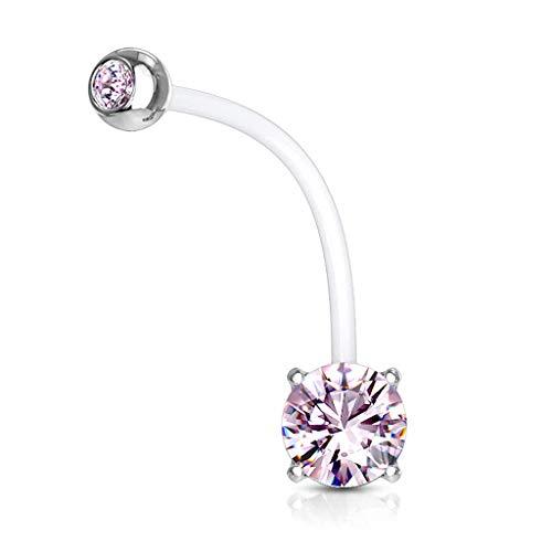 Autiga® Schwangerschaftspiercing Bio Flex Flexibler Kunststoff kürzbar Zirkonia Kristall Bauchnabel-Piercing rosa