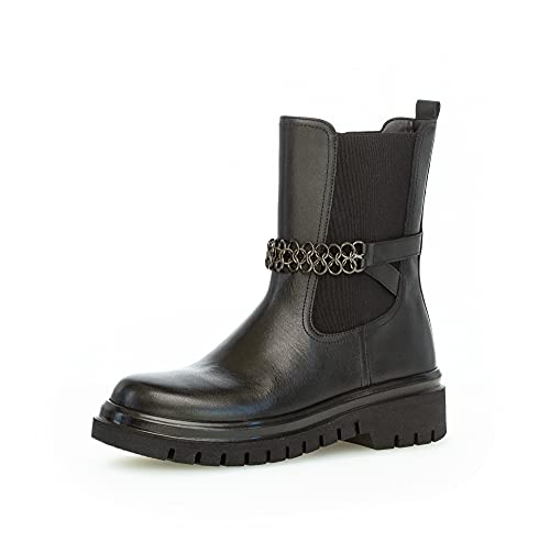 Gabor Chelsea Boots, damskie buty Chelsea Boots, czarny - czarny - 38 EU