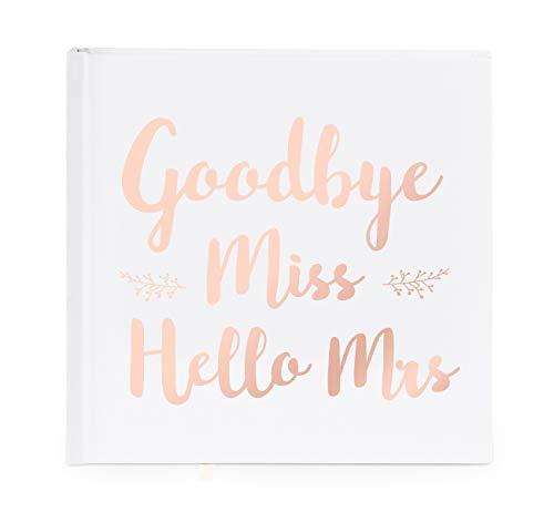 ABSOFINE Gästebuch Hochzeitsbuch Goodbye Miss Hello Mrs RoséGold Stanzen für Hochzeits-Album Hochzeitsgeschenk, 44 Seiten, 21x21cm