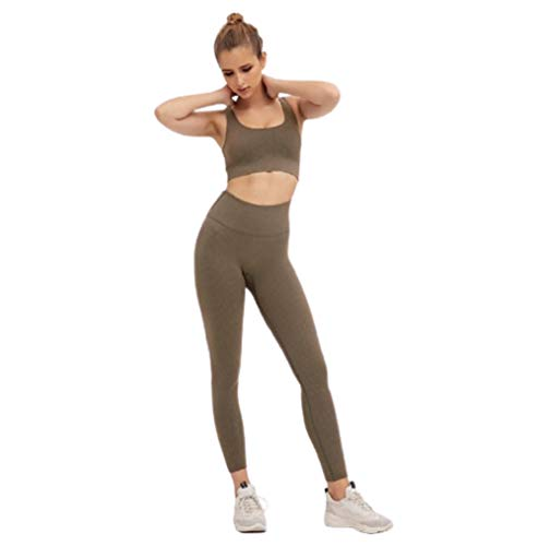 Ducomi ANA Completo Fitness Donna, Leggings Palestra, Top Push Up con Coppe - Tuta Sportiva Running, Yoga, Tennis e Palestra - Kit Leggins Snellente e Reggiseno Sportivo Allenamento (Brown, M)