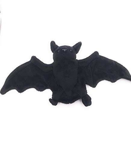 Onwomania Peluche de Peluche de Tela Animal murciélago imán Negro Profundo 19 cm