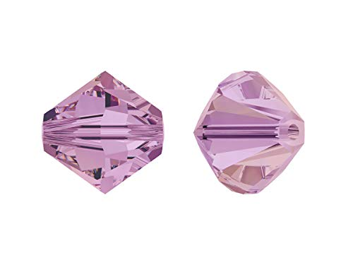 Xilion Swarovski Beads, Bicone 5328, 4mm, 18 Piezas, Cuentas de Vidrio facetadas en la Forma de Cono Doble (Linterna), Crystal/Lilac Shadow (Transparent Light Purple Iridescent)