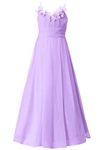 Happy Rose Long Chiffon Flower Girls Juniors Bridesmaid Dress Lavender 18