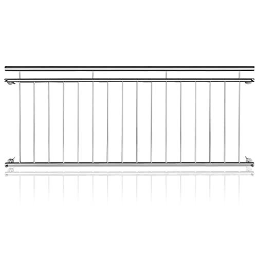 LARS360 ringhiera per balcone francese, in acciaio inox, con ringhiera in acciaio, per finestre, ringhiera per balconi (90 x 225 cm)
