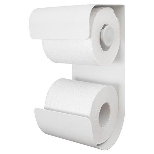 Sealskin Brix Toilettenpapierhalter mit integriertem Reserverollenhalter, Metall, Weiß pulverbeschichtet