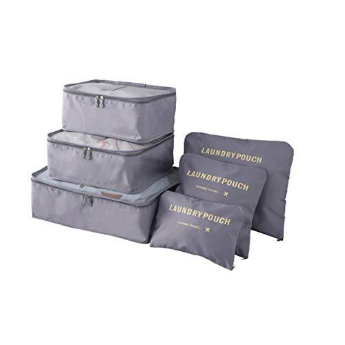 Mood Milano – Juego de organizador, maletín de viaje con zapatero, laundry bag, neceser, belleza y 2 bolsas gris