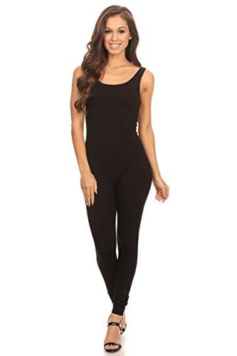 Women's Scoop Neck Sleeveless Stretch Cotton Jersey Unitard Bodysuits Black Small