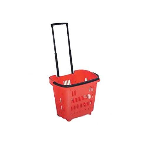 AsiaShopping Cestino Spesa CARRELLATO Trolley 2 Ruote Carrello 50 LT Rosso SUPERMERCATO