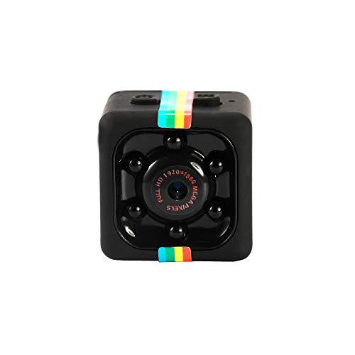 Camara Espia Oculta Video Cámara, Andoer 1080P HD Mini Camaras Espias, Mini Monitor de visión Nocturna Multifuncional, Camara Seguridad Pequeña Interior/Exterior(Negro con Barras de Color)