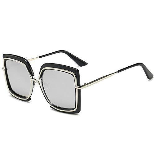 Gafas De Sol Retro Cat Eye Gafas De Sol Cuadradas Espejo Femenino Gafas De Sol Cuadradas Gafas De Sol Revestimiento Femenino Negro-Plata