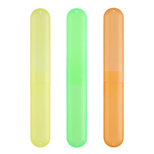 kwmobile Set de 3 fundas para cepillo de dientes - Fundas de plástico para almacenamiento - Juego de estuches de viaje amarillo/naranja/verde