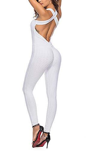 Shujin Damen Jumpsuit Sommer Sexy Sport Overalls Rückenfrei Criss Cross Bandage Romper Einteiler Hosenanzug Lang Leggings