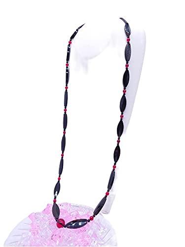 天然工房 べっこう屋さん 本べっ甲 バラフ カットパーツ 琥珀 レッドアンバー付 90cm ロングネックレス (N-040)