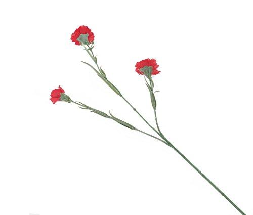 Closer 2 Nature più Vicino alla Natura del Terreno di 12 garofani Artificiali Singolo e Multi-Testa Asta 70 cm Rosso