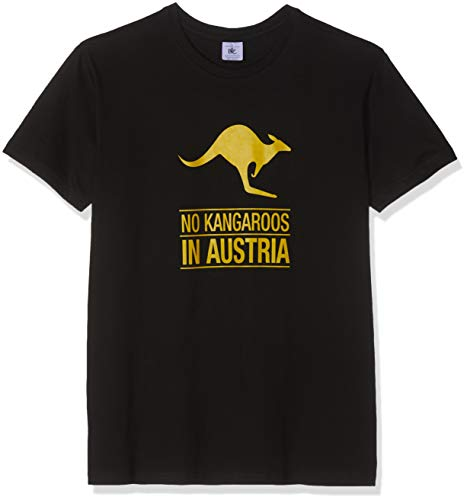 Texlab Herren No Kangaroos in Austria T-Shirt, Schwarz, M